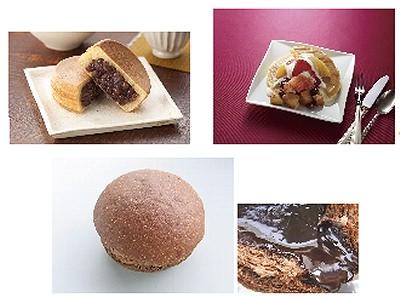 ↑ 上・左から「Uchi Cafe' SWEETS あんこやの今川焼き(つぶあん)」「Uchi Cafe' SWEETS 焼きりんごとフレッシュフルーツのパンケーキ」、下「ほろにがショコラブラン」