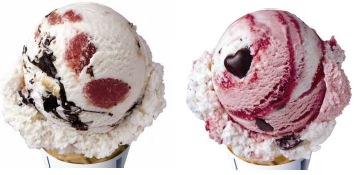 ↑ ラブストラックチーズケーキ(左)とラブポーションサーティワン(右)