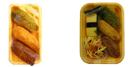 ↑ 「3色いなり」(左)と「3色いなりと寿司の詰め合わせ」(右)