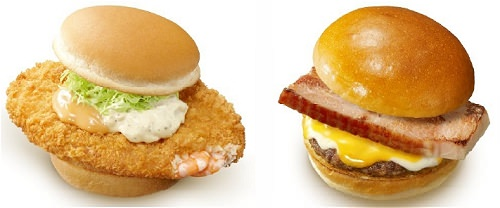 ↑ はみだしエビバーガー(左)とはみだしベーコン絶品チーズバーガー(右)