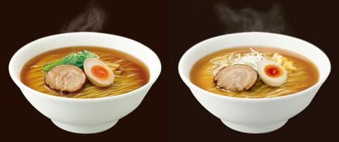 ↑ 展開される日清ラ王袋麺イメージ。左がしょうゆ味(チャーシュー、煮玉子、ほうれん草、メンマ、輪切りねぎ(青ネギ)付き)、右がみそ味(チャーシュー、煮玉子、コーン、もやし、白髪ねぎ付き)