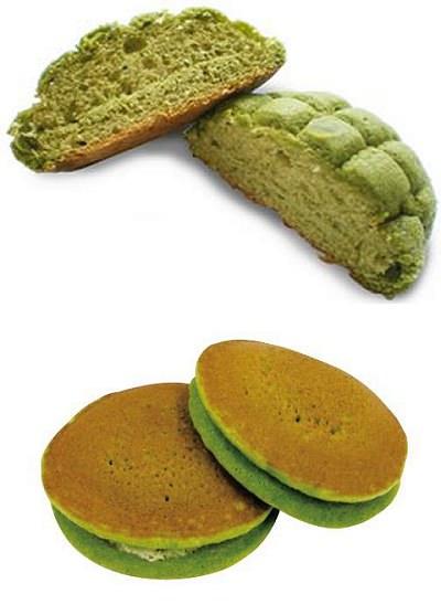 ↑ 抹茶メロンパン(上)と抹茶ホットケーキ(下)