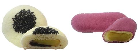 ↑ 「成田ソラあんぱん さつまいもあんぱん(塩つぶ餡入り)」(左)と「成田ソラあんぱん まるでさつまいもあんぱん」(右)