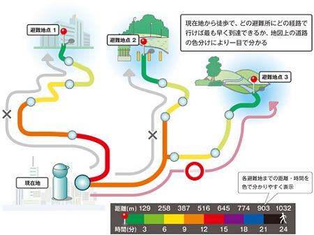 ↑ 逃げ地図の概念図