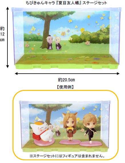 ↑ ちびきゅんキャラ 『夏目友人帳』 ステージセットと使用例(使用例にあるフィギュアは、ステージセットには含まれない)