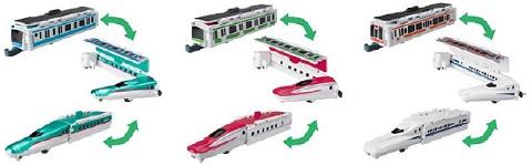 ↑ 左から「[FT01]京浜東北線-E5系 新幹線はやぶさ」「[FT02]山手線-E6系 新幹線スーパーこまち」「[FT03]東海道本線-N700系 新幹線のぞみ」