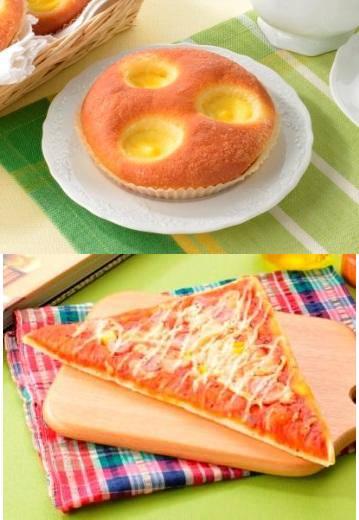 ↑ ブリオッシュクリームパン(上)とサラミソーセージピザ(下)