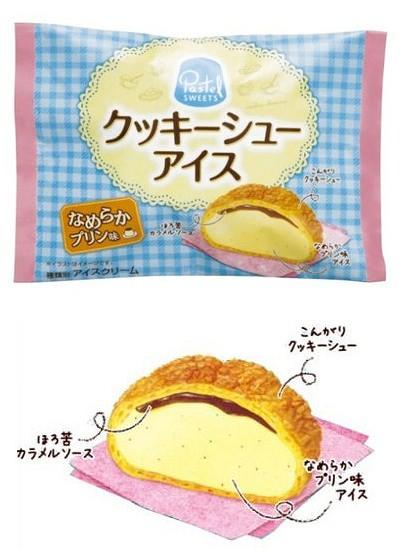 ↑ パステルスイーツ クッキーシューアイス なめらかプリン味