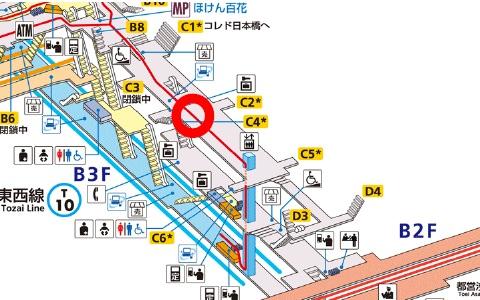 ↑ 四ツ谷駅(上)と日本橋駅(下)の設置場所