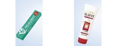 ↑ 「リカルデント ブルーミンググリーンミント」(左)と「ロレアル パリ エルセーヴ ダメージケアPROEX ディープリペアヘアパック」