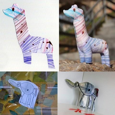 ↑ 子供のクレヨン描きのような絵を立体化するCrayon creatures。3Dプリンタならではの活用例