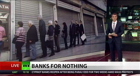 ↑ キプロスの預金封鎖を伝える報道映像。