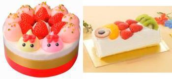 ↑ いちごのショートケーキ(ほっぺちゃんのおまけつき)(左)とこどもの日 こいぼのりロールケーキ(右)