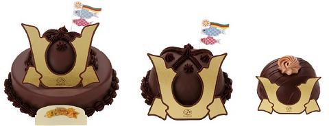 ↑ かぶとケーキ群。左から「かぶとケーキ」「ミニかぶとケーキ」「ミニミニチョコかぶと」