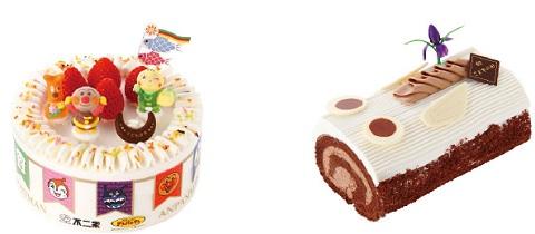 ↑ 「それいけ! アンパンマンショートケーキ(こどもの日)」(左)と「こいのぼりのロールケーキ(長さ15センチ)」(右)