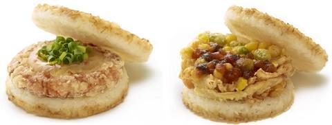 ↑ モスライスバーガー『海老しんじょ(和風おろしだれ)』(左)と(右)モスライスバーガー『季節の野菜かきあげ』