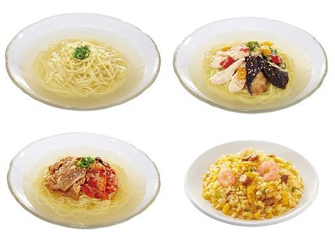 ↑ 上段左から「冷やし汁そば」「冷やし汁そば 鶏野菜」、下段左から「冷やし汁そば 牛キムチ」「卵チャーハン」