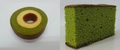 ↑ 抹茶ミルクバウム(左)と抹茶かすてら(右)