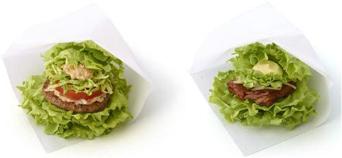 ↑ モスの菜摘 モス野菜 オーロラソース仕立て(左)とモスの菜摘 テリヤキチキン(右)
