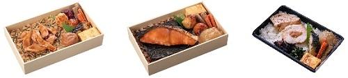 ↑ 左から「桜島どりのごっそ弁当」「北海道鮭照焼のうまいっしょ弁当」「紀州ええ塩梅ごっつぉさん弁当」