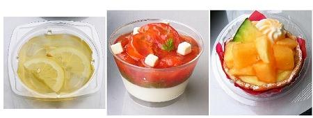 ↑ 左から「愛媛県産レモンを使った愛玉子(オーギョーチ)」「静岡・長野県産アメーラトマトを使ったジュレ」「夕張産夕張メロンを使ったタルト」