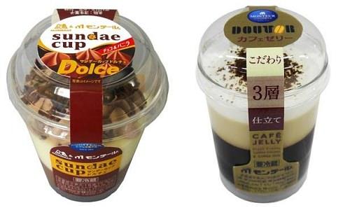 ↑ サンデーカップ・ドルチェ(左)とカフェゼリー(右)