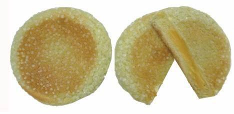 ↑ 北海道メロンクリームの平焼きメロンパン