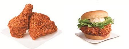 ↑ 胡麻と山椒のぶっかけチキン(左)と胡麻と山椒のぶっかけチキンサンド(右)