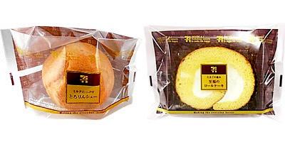 ↑ ミルクたっぷりとろりんシュー(左)とたまごの恵み 至福のロールケーキ(右)