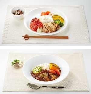 ↑ チキンのゴマ サルサソース(上)とアボカドとチーズのトマトカレー(下)