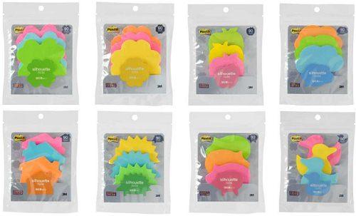 ↑ ポスト・イット 強粘着ノート シルエットデザインシリーズ。上段左からクローバー、フラワー、アップル、吹き出し。下段左からハウス、ハリネズミ、ブタ、アヒル