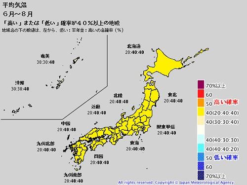 ↑ 6月-8月の平均気温。黄色は平年より気温が高くなる確率が40%以上の地域……日本全土である