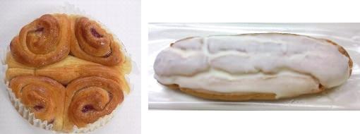 ↑ ブルーベリーとバターのブレッド(左)とミルクエクレア(右)