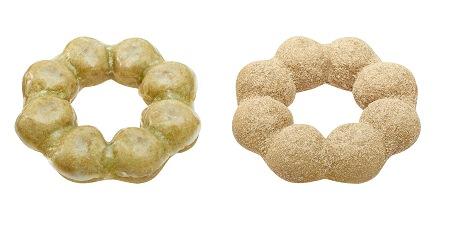 ↑ ポン・デ・リング生 抹茶(左から生 抹茶、生 抹茶黒糖)