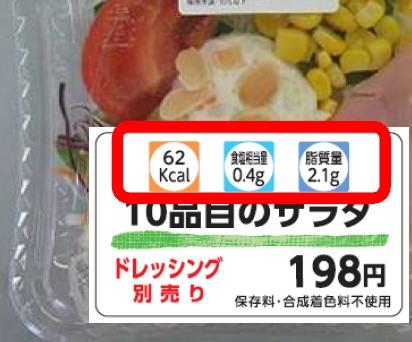 ↑ サラダにおける商品ラベルの表示イメージ