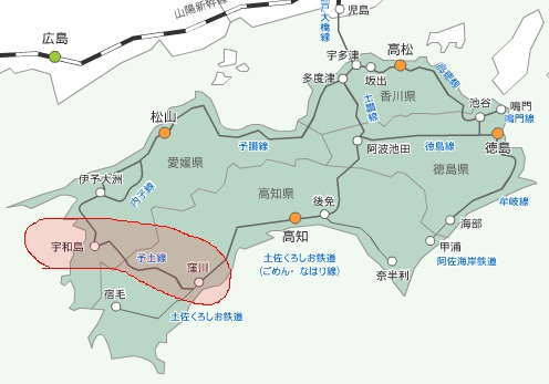 ↑ JR四国管轄と予土線(赤領域内)