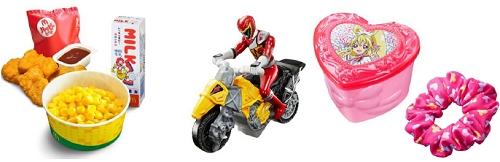 ↑ ハッピーセット(イメージ)(左)と、キョウリュウジャー(中)・ドキドキ! プリキュア(右)おもちゃ一例