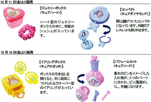 ↑ ドキドキ! プリキュアのおもちゃ一覧。「ジュエリーボックス(キュアハート)」「コンパクト(キュアダイヤモンド)」「イアリングボックス(キュアロゼッタ)」「パフュームセット(キュアソード)」