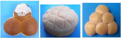 ↑ 左から「富士3色パン」「桃ンパン」「ぶどうパン」