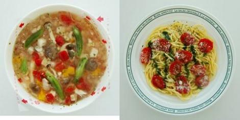 ↑ カラフル野菜のスープパスタ(左)とプチトマトのペペロンチーノ(バジルソース)