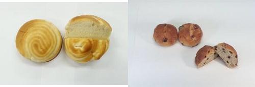 ↑ こだわりパン工房Natural Tasteふんわりミルクブレッド(左)と同レーズンブレッド(右)