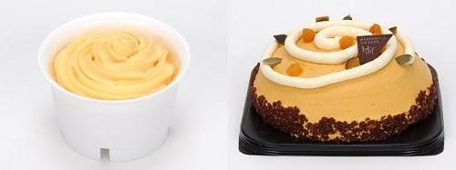 ↑ ふわとろかぼちゃスフレ(左)とハロウィン パンプキンケーキ(右)