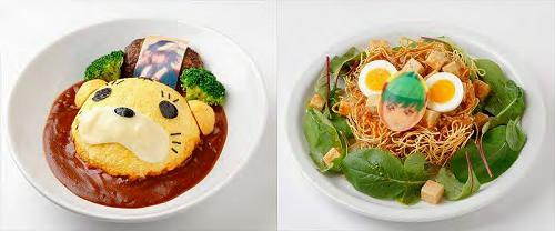 ↑ オリジナルメニュー。左は虎の遊具オムライスプレート、右はドラゴンキッドの稲妻炒麺(チャーメン)