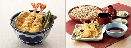 ↑ 今回販売が終了する「上天丼」(左)と「エビ天そば」(右)