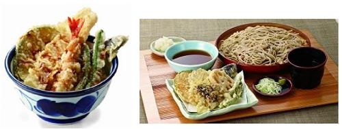 ↑ 海老大イカ天丼(左)と野菜天そば(右)