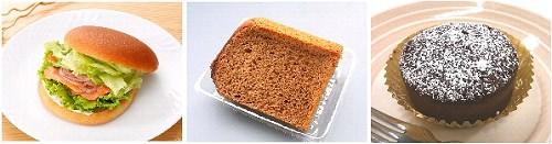 ↑ 左から「ブランサンドサーモン&クリームチーズ(サンドイッチ)」「ブランの紅茶シフォンケーキ(パン)」「ブランのガトーショコラ(スイーツ)」
