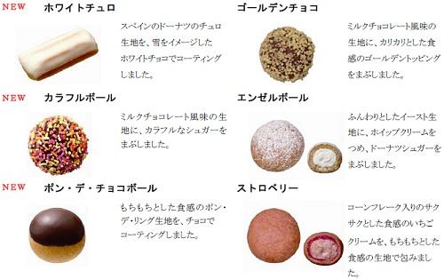↑ 「ミスドビッツ WINTER」の6種類のドーナツ概要