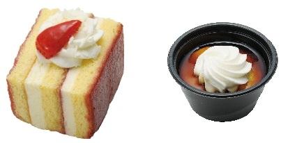 ↑ 「ホワイトチョコとラズベリーのケーキ」(左)と「焼りんごと黒蜜風味のケーキ」(右)