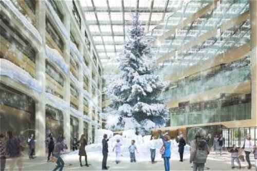 ↑ 最大の見どころ、1階アトリウムに展開予定のクリスマスツリーイメージ