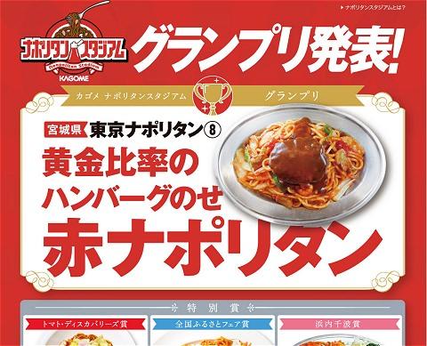 ↑ 公式サイトではグランプリの「黄金比率のハンバーグのせ赤ナポリタン」をはじめ、出店された各ナポリタンの姿、そしてレシピを確認できる